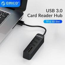 ORICO USB 3.0 Hub 3/6 Port adaptateur d'extension TF lecteur de carte SD tout en un pour accessoires d'ordinateur PC