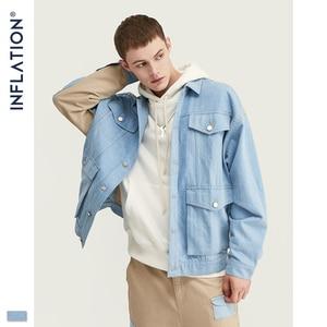 Image 3 - INFLATIE Mannen Denim Mannen Pak Herfst Winter Mode Mannen Blazer Jeans Pak Losse Fit Uitloper Denim Mannen Pak Spliced Jeans suits