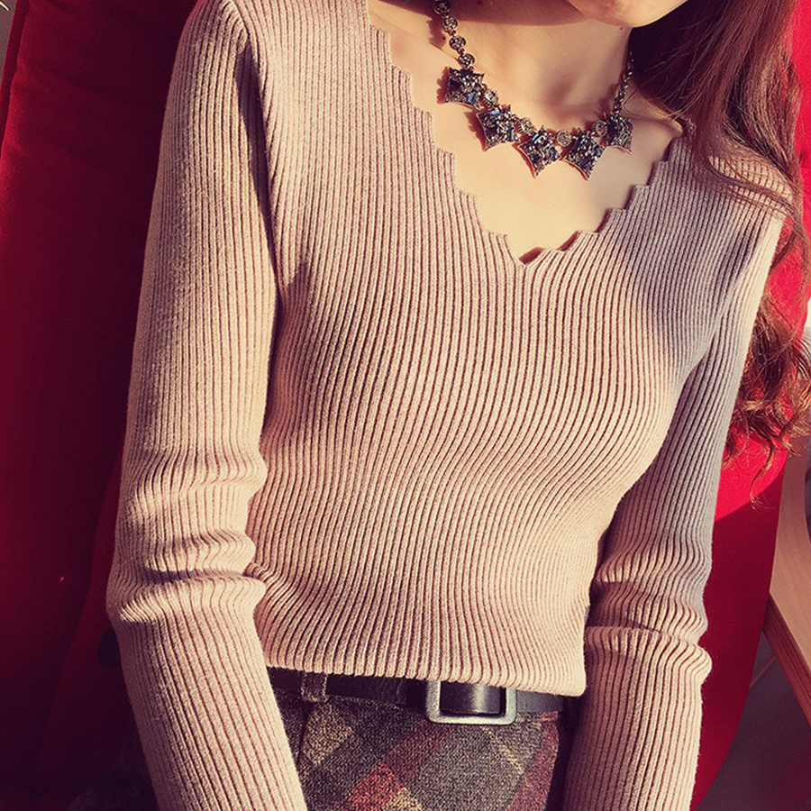 Casual V-Neck Knit Sweater Women Winter Sexy Slim Pullover Solid Sweaters Ladies Elastic Jumper Female Vogue Bottoming Sweaters