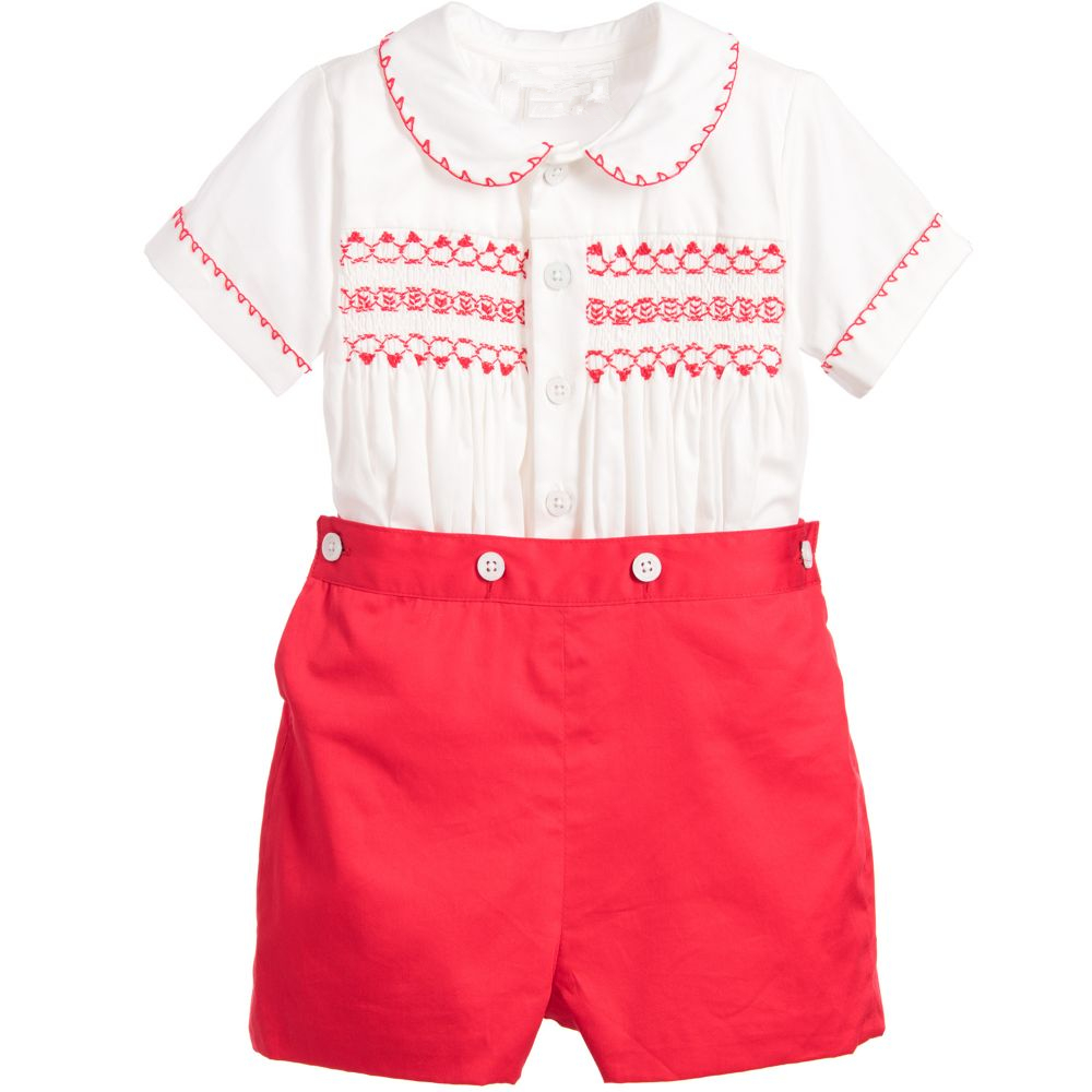 2020 Baby Boy Summer Clothes Set Infant Hand Made Smocked Shirt+Short Pants Prince Spanish Baby Clothing Suit Birthday Outfits