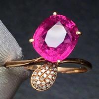 Rubillite Ring Fine Jewelry Pure 18 K Gold Natural Rubi Tourmaline 3.6ct Gemstone Diamond Gift Female Rings for Women Fine Ring