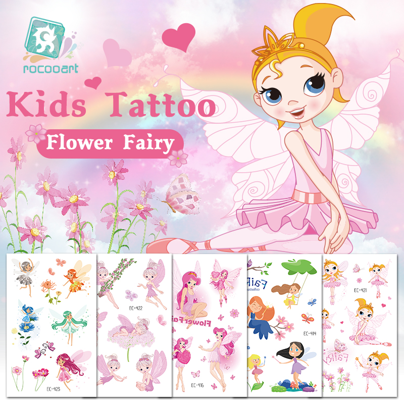 Rocooart Flower Fairy Tattoo For Kids Cute Fake Taty Children Tatouage Temporaire Body Art Waterproof Temporary Tattoo Stickers