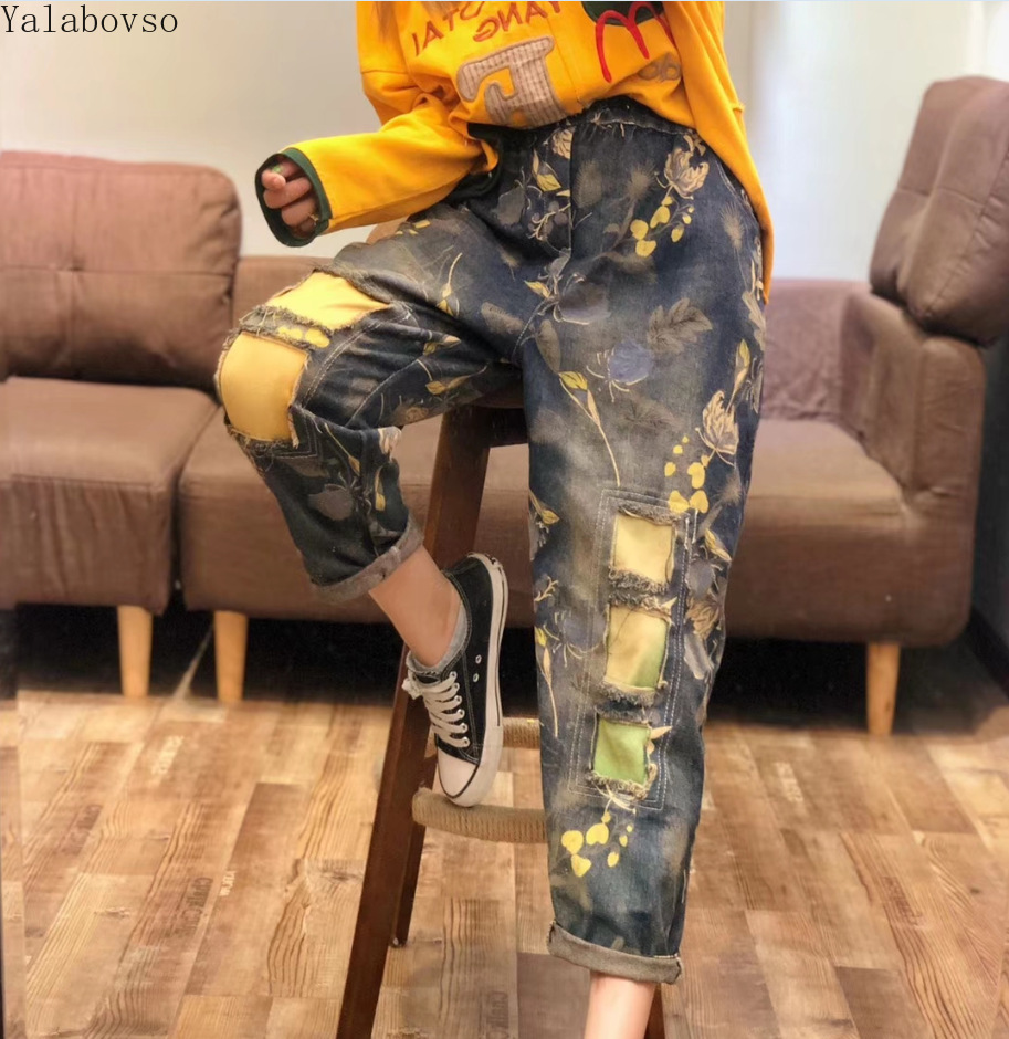 jeans women ripped for plus size street style Ankle-Length Pants Distressed Elastic Waist CXCZ40
