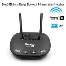 262ft/80m Long Range Bluetooth 5,0 Sender Empfänger 3 In 1 Wireless AUX Optische Adapter aptX HD APTX niedrige Latenz für TV Hause