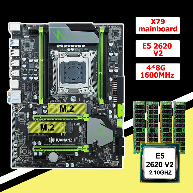 Discount motherboard bundle with dual M.2 slots HUANANZHI X79 motherboard with CPU Intel <font><b>Xeon</b></font> <font><b>E5</b></font> <font><b>2620</b></font> <font><b>V2</b></font> RAM 32G(4*8G) 1600 RECC image