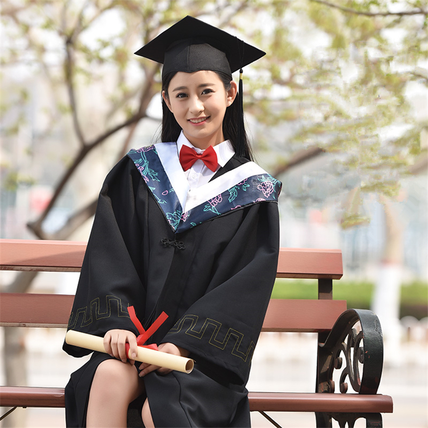 High School Student Academic Dress Graduation College Group Picture Class Japanese Style University Doctor Clothing Robe+Hat
