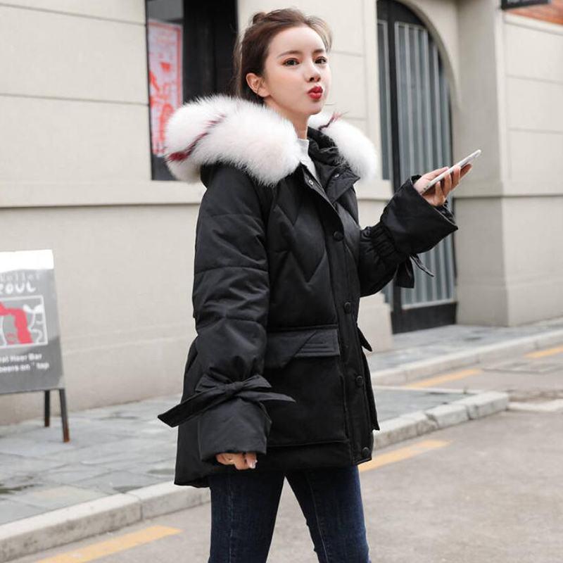 Women 2019 Winter White Duck   Down   Winter Jacket Big Natural Fox Fur Collar Hooded Parkas   Coat   Female Warm Casual OutERwear N145
