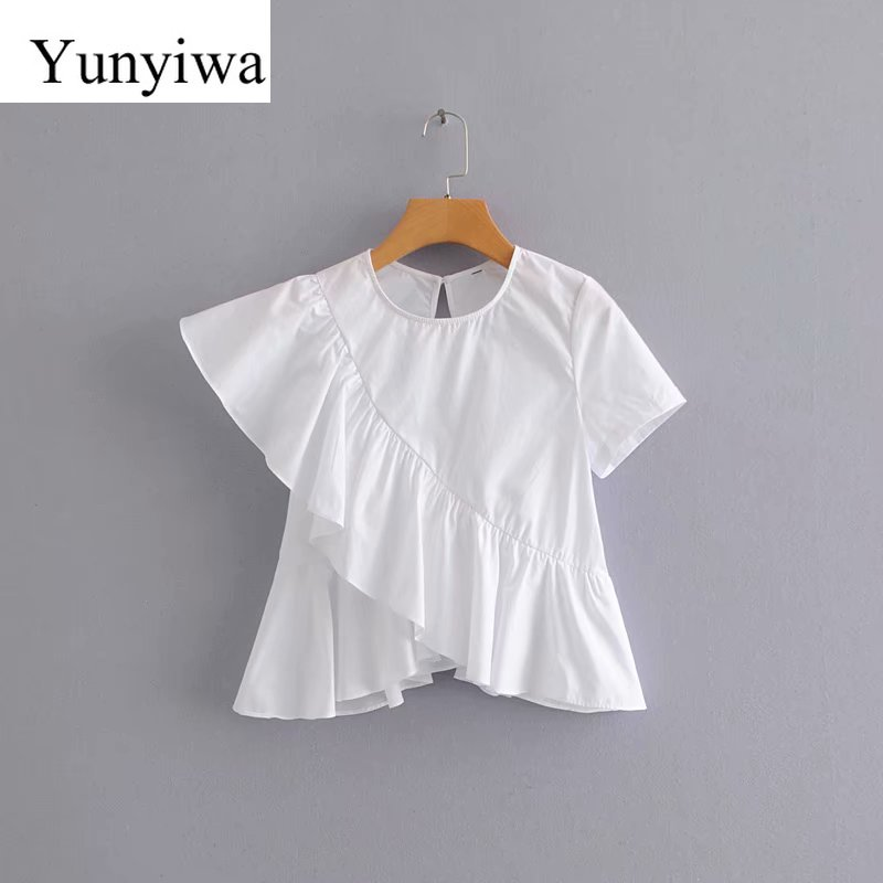 2020 Women Korean Sweet Solid Color Ruffles Casual Irregular Blouse Shirts Women Short Sleeve Blusas Summer White Tops