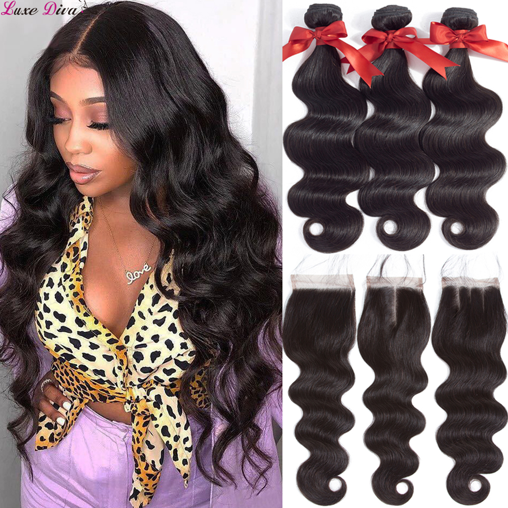 Luxediva Body Wave Bundles With Closure Brazilian Hair Weave Bundles With Closure Remy Human Hair Bundles With Closure Extension