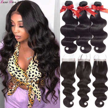 Luxediva Body Wave Bundles With Closure Brazilian Hair Weave Bundles With Closure Remy Human Hair Bundles With Closure Extension - DISCOUNT ITEM  49% OFF All Category