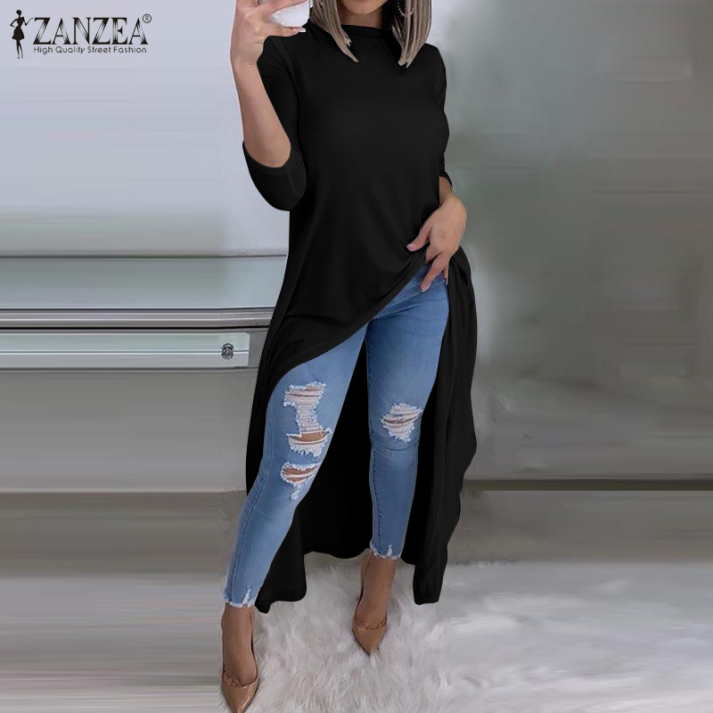 ZANZEA Women Asymmetric Tops Spring Long Sleeve Irregular Long Shirt Female Solid Blouse Work Blusas Femininas Kaftan Vestido