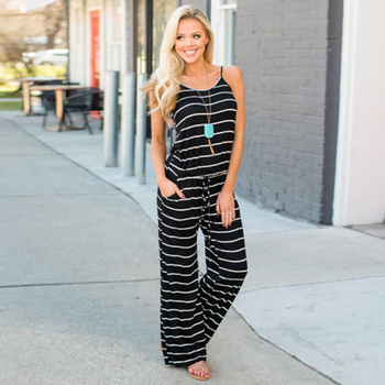 Womens Striped Sleeveless Jumpsuit Ladies Summer Casual Wide Leg Playsuit Romper Outdoor Overalls Bib Pants Trousers