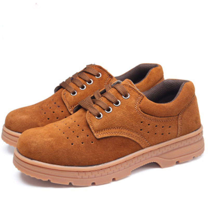 Safety Shoes Men's Anti-smashing And Anti-penetration Khaki Suede Perforated Breathable Steel Head Smashing Rubber Sole Safety S