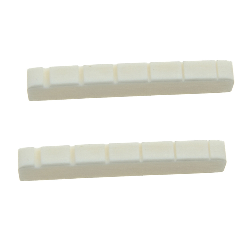 2 Pcs 6 String Electric Bone Nut Cattle Bone Slotted Replacement (43 X 6mm ,Unbleached)