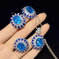 QIi Xuan_New Blue Pendant Three piece Set Luxury Atmosphere Inlaid Zircon S925 Silver Earrings High end Banquet Women