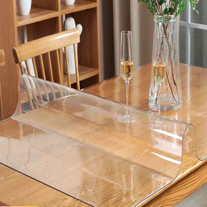 Image 2 - Grosso 2mm transparente pvc toalha de mesa à prova doil água capa de vidro macio à prova de óleo proteger cozinha mesa de jantar de alta qualidade