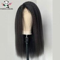 Панда 13*4 Yaki прямые человеческие волосы на кружеве парики для черных женщин бразильские волосы remy 8-28 дюймов 150% Плотность парики на кружеве