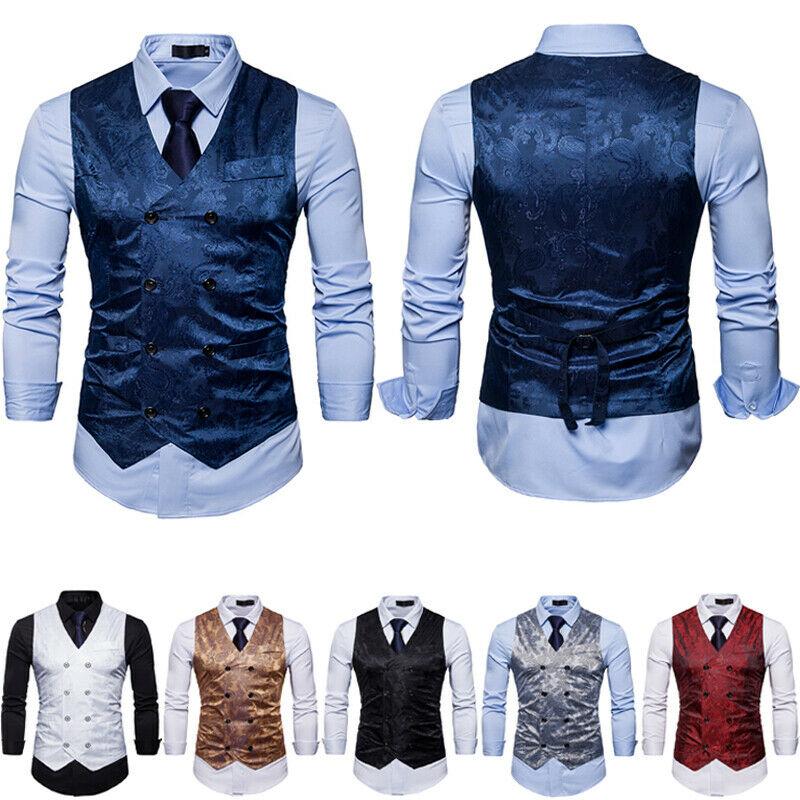 Vintage Men's Formal Business Dress Vest Embroidery Bronzing V-neck Double Breasted Waistcoat Waist Suits Blazer Vests