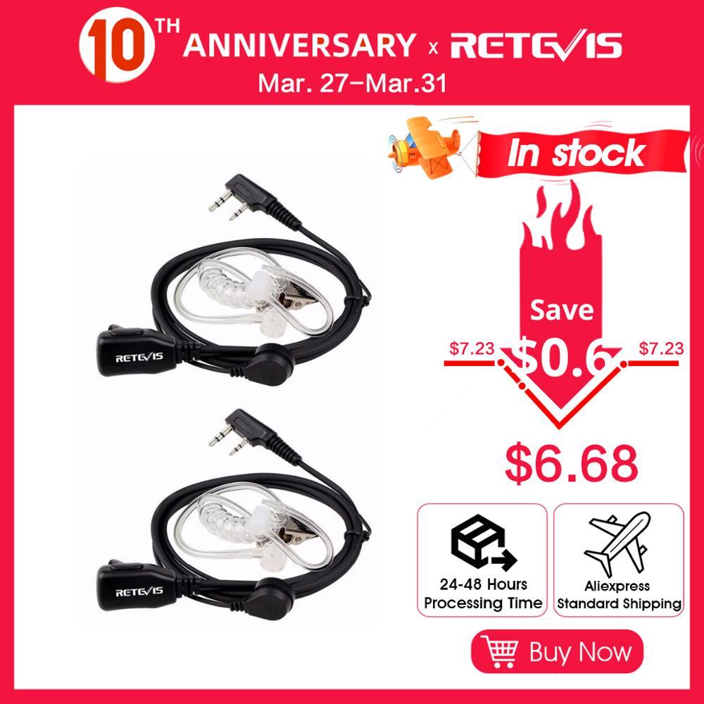 2pcs Acoustic Tube PTT Mic 2Pin Headphone Walkie Talkie Headset For Kenwood TYT Baofeng 888s UV-5R UV-82 RETEVIS RT22 H777 RT-5R