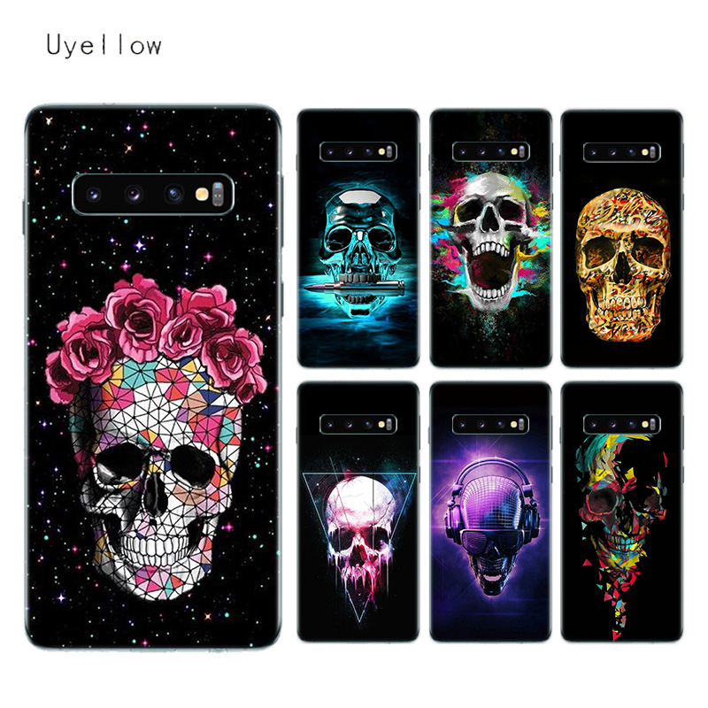 Uyellow Silicone Soft Case For Samsung S8 S9 S10 S10E Plus J4 J6 J8 A6 A7 A8 A9 Plus 2018 Note 8 9 10 Pro Neon Skull Capa Cover in Fitted Cases from Cellphones Telecommunications