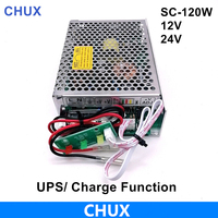 120W Ups Schalt Netzteil 12v 24V Mit UPS/Lade Funktion 110/220v Ac zu Dc 12V 24VDC Batterie Ladegerät SC-120W-12V 24V