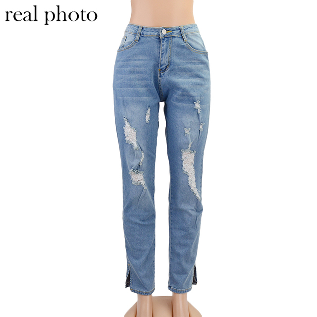 Simenual Skinny High Waist Denim Ripped Distressed Jeans Women Fashion Autumn Streetwear Pencil Pants Cut Out Pocket Trousers 6
