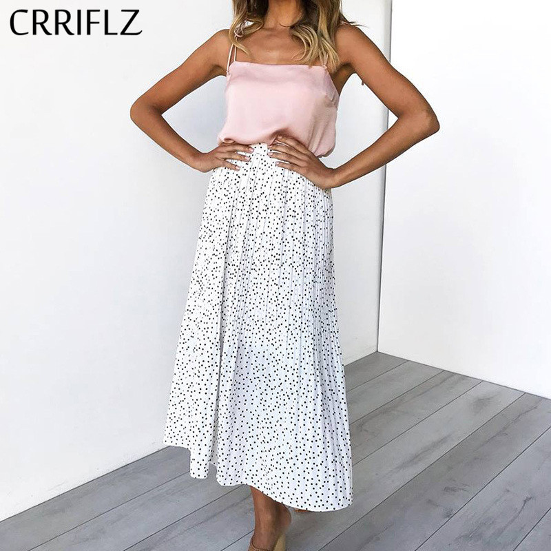 CRRIFLZ Spring Autumn Polka Dot Pleated Skirt Women High Waist Pleated Mid Calf Linen Elastic Skirt 2020 New Promotions Lady
