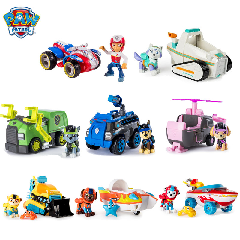 Genuine Paw Patrol Toy Set Can Send With And Without Box Ryder Skye Chase Tracker Action Figure Toy Model Kids Birthday Gifts
