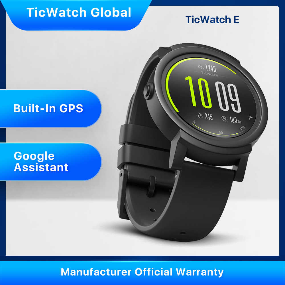 Ticwatch E SMART Watch Bluetooth GPS Sport Watch IOS & Android Google Play IP67 Tahan Air Baterai Yang Tahan Lama Multi-bahasa