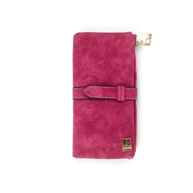 Famous Brand Long Purse Two Fold Women Wallets Drawstring Nubuck Leather Zipper Suede Wallet Ladies carteira Feminina Clutch Bag