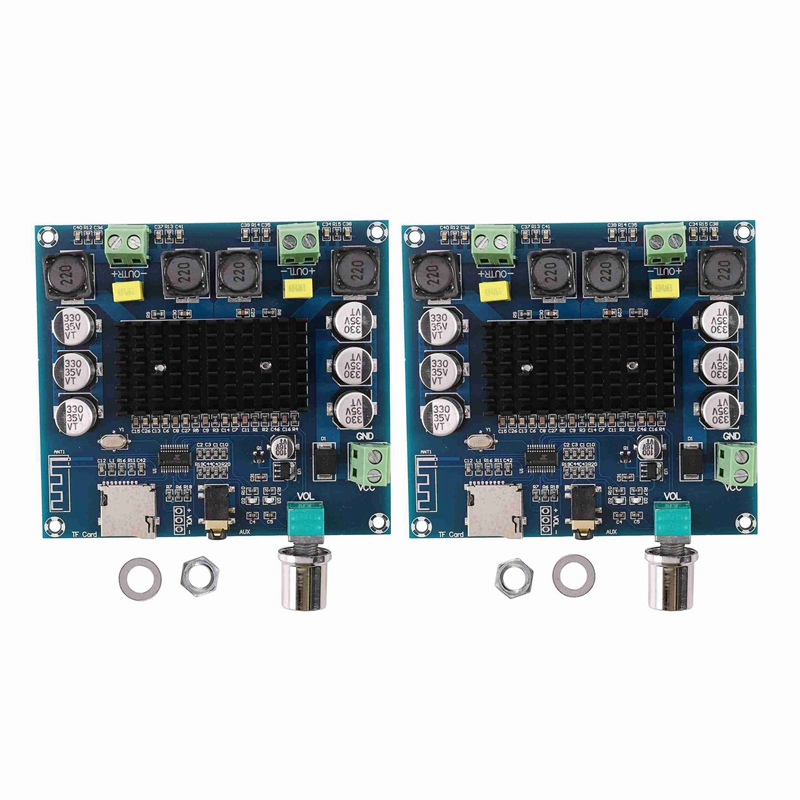 2Pcs XH-A105 Bluetooth 5.0 TDA7498 Wireless Digital Power Amplifier 2X100W AMP Amplificador Support TF Card AUX