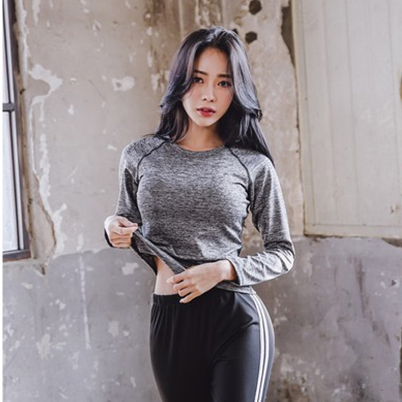 New Style Korean Style Yoga Clothes Suit Autumn & Winter Set Fitness Suit Running Elasticity Tight Long-sleeved Upper Garment