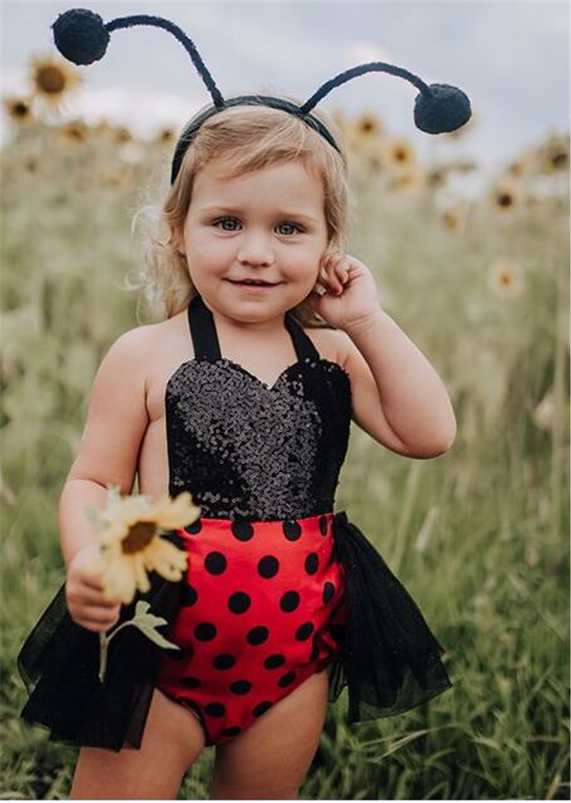 0 24M Newborn Baby Girls Clothes Ladybug Romper Black Tutu Dress Headband Backless Sequins Jumpsuit Cartoon Bodysuit Photography in Bodysuits from Mother Kids