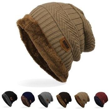 Зимний Супер Теплый мужской и женский с бархатом теплый вязаный свитер шапка унисекс шапки Теплый шерстяной головной убор