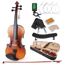4/4-Violin Acoustic Fiddle Ammoon Sideboard White Maple Bow with Carry-Case Mahogany