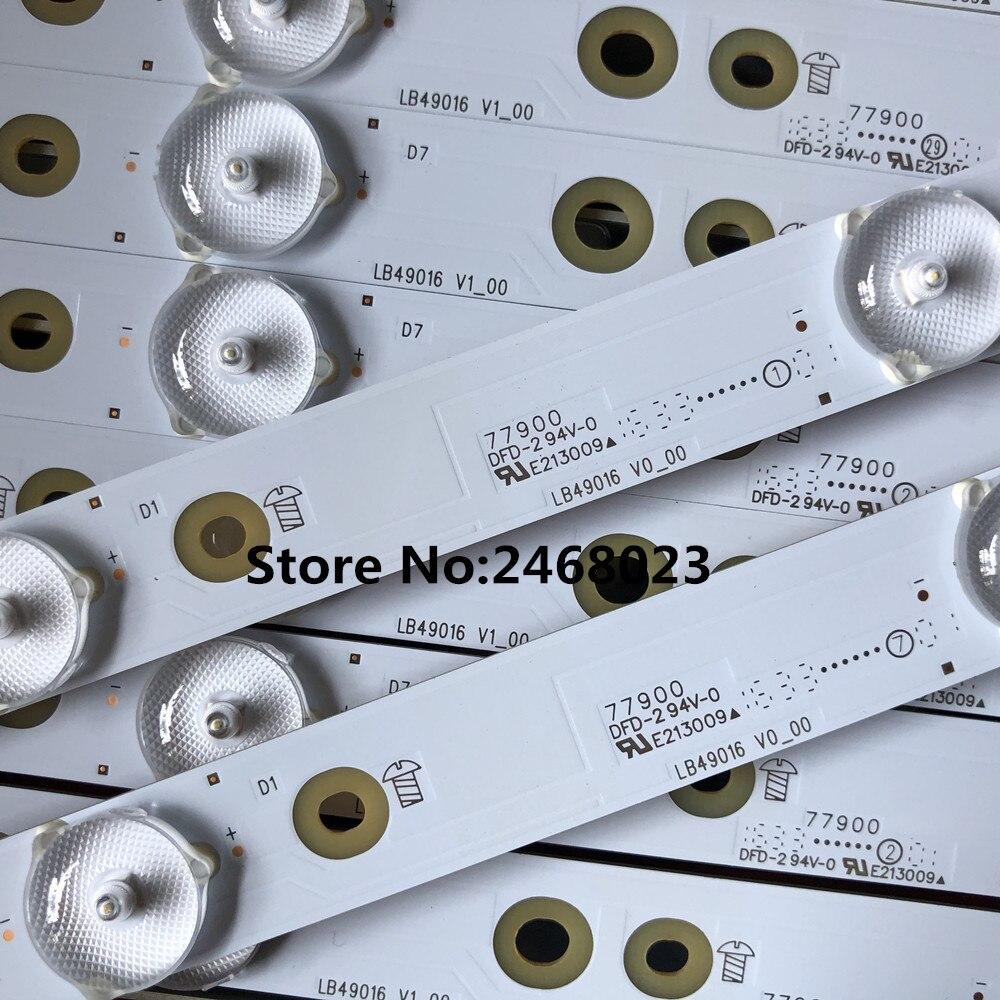 New 14 PCS/set LED Backlight Strip For LB49016 V1_00 GJ-2K16-490-D712-P5-R/L 01N21 01N22 TPT490U2 49PUS6401 49PUH6101