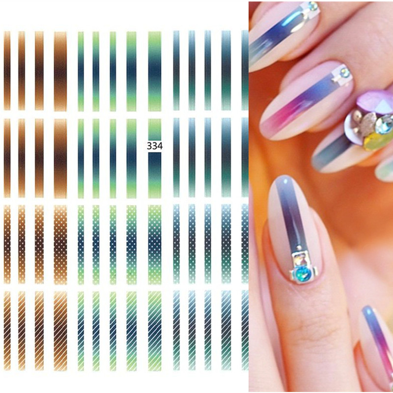 1 Sheet Nail Stickers Gradient Colorful Lines Stripe Shape Adhesive Transfer Decals Mixed Patterns Nail Art DIY Decoration
