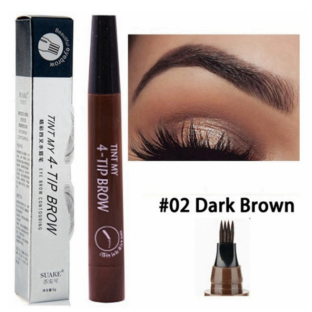 Hot Selling Eyebrow Pen Waterproof 4 Fork Tip Eyebrow Tattoo Pencil Long Lasting Professional Brown Black Liquid Eye Brow Pencil 3