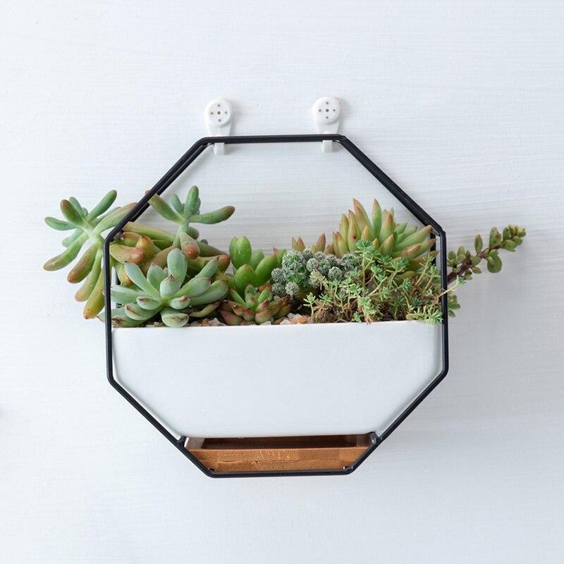 Geometric Hanging Wall Flower Pots  Iron Rack Ceramic Flower Pot Bamboo Tray Iron Frame|Pot Trays| |  - title=