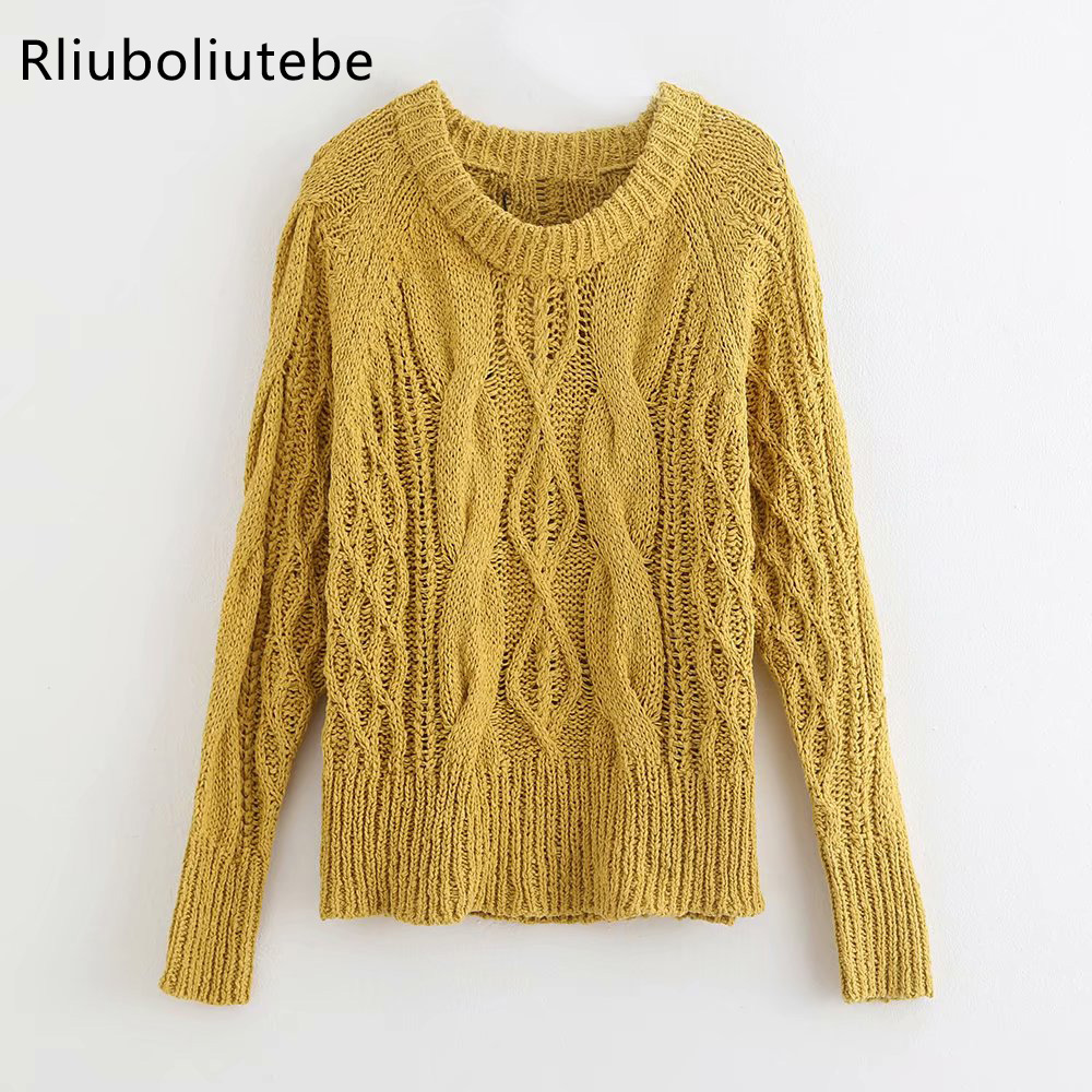 Loose Knitted Pullover Yellow Sweater Women O-neck Autumn Winter Casual Female Jumper Streetwear Ladies Top Overalls 2019