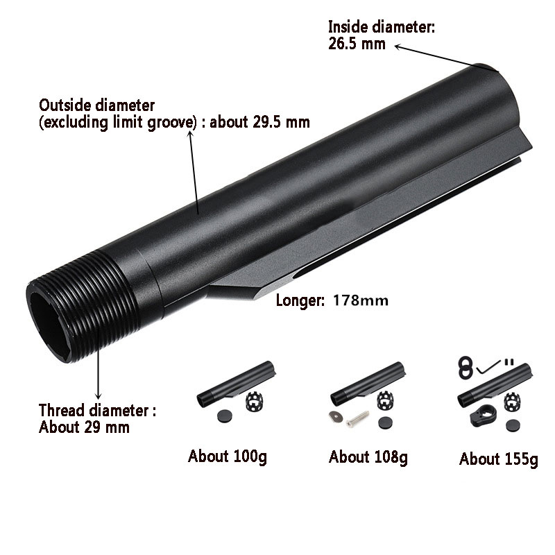 Tactical 6 Position Buffer <font><b>Tube</b></font> for Airsoft <font><b>M4</b></font>/M16 Series AEGs Retractable Stock Light weight CNC Stock Extension <font><b>Tube</b></font> image