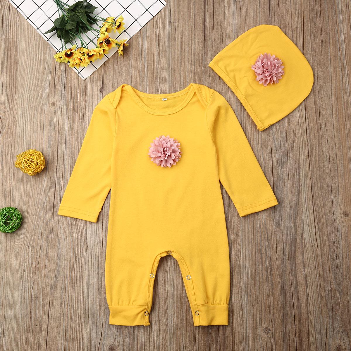 2PCS Newborn Baby Girl 3D Flower Romper Bodysuit Jumpsuit Hat Outfit Clothes