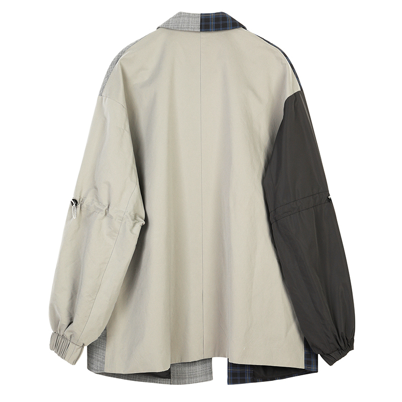 [EAM]  Women Blue Plaid Asymmetrical Big Size Blazer New Lapel Long Sleeve Loose Fit Jacket Fashion Spring Autumn 2019 1B4690