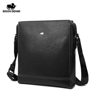 BISON DENIM Men Messenger Bags Luxury Genuine Leather Men Bag Designer Sewing High Quality Shoulder Bag Zipper Office Bag N20015