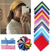 Pañuelo cuadrado multifuncional para mujer, Bandana de Color liso, banda para el pelo, banda para la cabeza, mascarilla facial de 54cm x 54cm