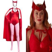 Wanda Vision – Costume de Cosplay pour femmes, combinaison avec Cape, Costume de carnaval d'halloween