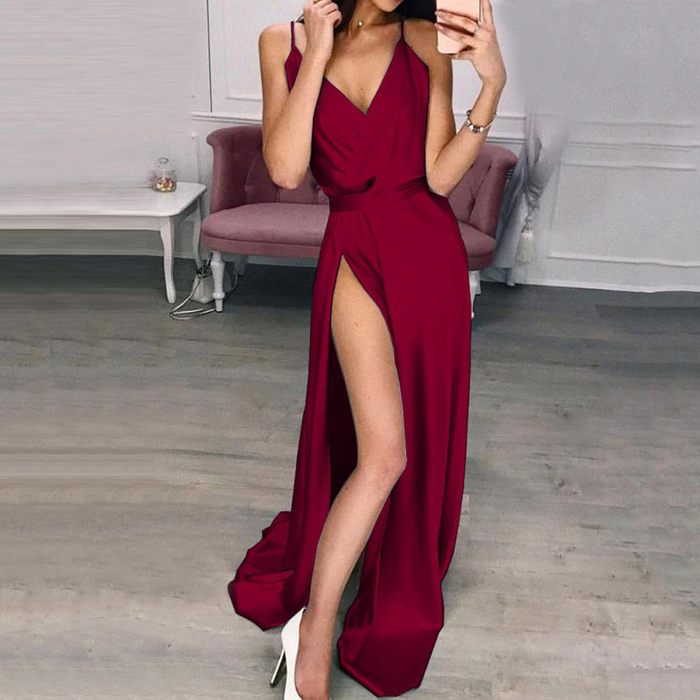 Summer Sexy V-Neck Party Dress Red Strap Boho Dresses Women 2020 Bohemian Beach Maxi Dress Elegant Split Sundress Vestidos