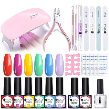 UR SUGAR Nail Set UV LED Lamp Dryer With 6pcs Nail Gel Polish Kit Soak Off UV LED Gel Manicure Tools Set Nails Art Tools Designs 1