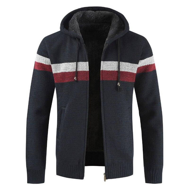 Oufisun Sweater Coat Men 2019 Winter Thick Warm Hooded Cardigan Clothes  Men Striped Cashmere Wool Liner Zipper Fleece Coats Men