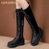 Sarairis Plus Size 30 52 New Arrivals 2020 hot sale Platform Shoes Woman Boots Female Zip Up 4 Colors Mid Calf Boots Woman Shoes